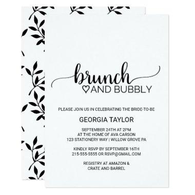 Simple Black & White Calligraphy Brunch and Bubbly