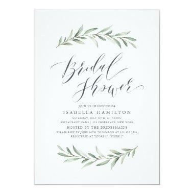 Simple calligraphy rustic greenery bridal shower Invitations