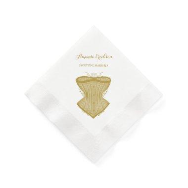 Simple Elegance Gold Corset Lingerie Bridal Shower Napkin