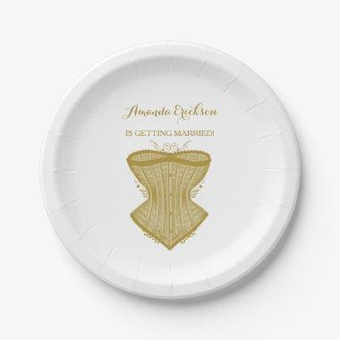 Simple Elegance Gold Corset Lingerie Bridal Shower Paper Plate