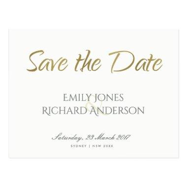SIMPLE ELEGANT GOLD GREY TYPOGRAPHY SAVE THE DATE POST