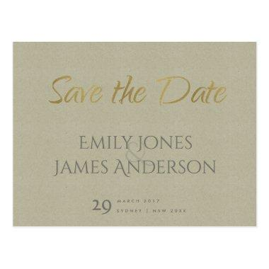 SIMPLE ELEGANT GOLD KRAFT TYPOGRAPHY SAVE THE DATE POST