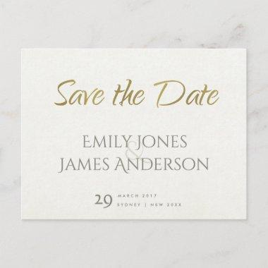SIMPLE ELEGANT WHITE GREY TYPOGRAPHY SAVE THE DATE ANNOUNCEMENT POST