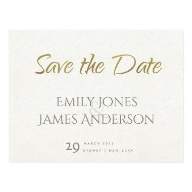 SIMPLE ELEGANT WHITE GREY TYPOGRAPHY SAVE THE DATE POST