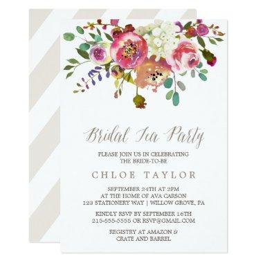 Simple Floral Watercolor Bouquet Bridal Tea Party