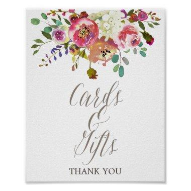 Simple Floral Watercolor Bouquet  & Gifts Poster