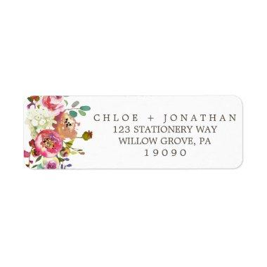 Simple Floral Watercolor Bouquet Wedding Label