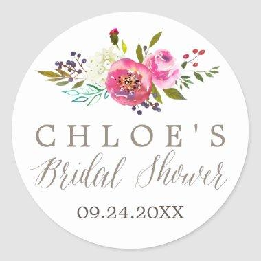 Simple Floral Watercolor Bridal Shower Favor Classic Round Sticker