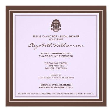 Simple Frame Bridal Shower Invitations (lavender)