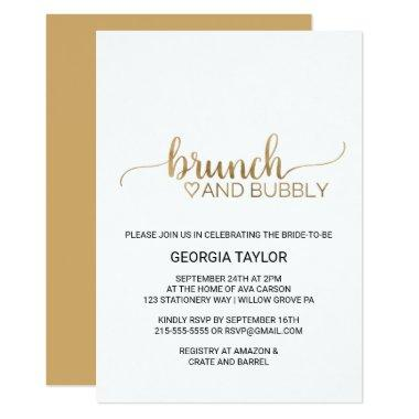 Simple Gold Calligraphy Brunch and Bubbly