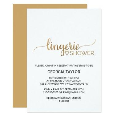 Simple Gold Calligraphy Lingerie Shower
