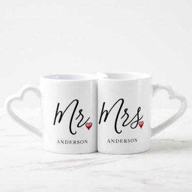 Simple Mr. & Mrs. Love Mugs with Heart