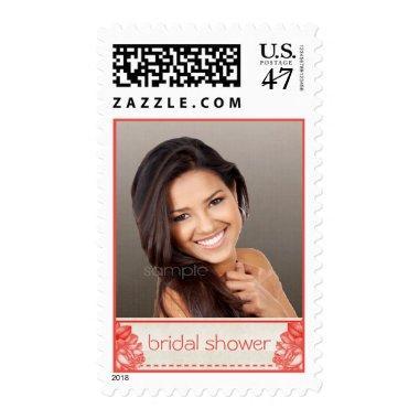 Simple Natural Botanical Rose Bridal Shower Photo Postage