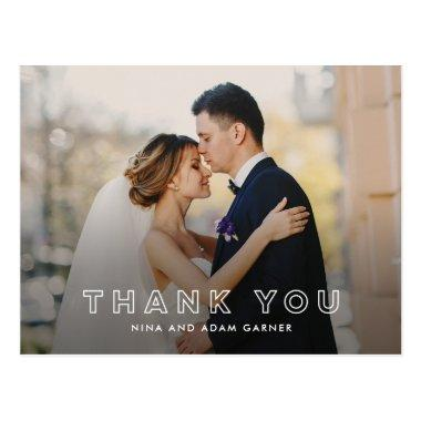 Simple Outline Wedding Thank You PostInvitations