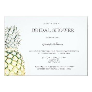 Simple pineapple bridal shower invitations