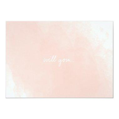 Simple Pink Watercolor Will You Be My Bridesmaid