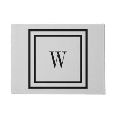 Simple Plain Black Border and Initials Or Monogram Doormat