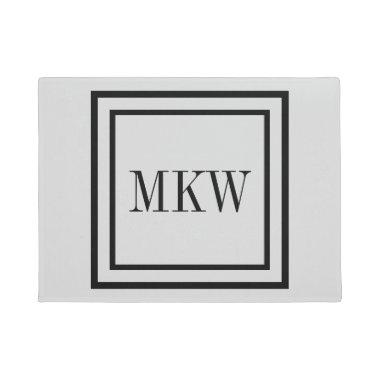 Simple Plain Black Border Full 3 Initals Monogram Doormat