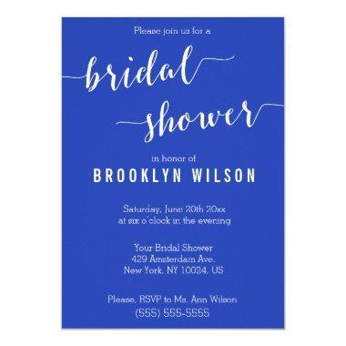 Simple Royal Blue White Bridal Shower Invitations