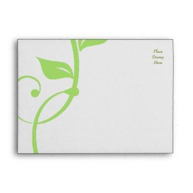 Simple Scrolling Green Vine Envelope