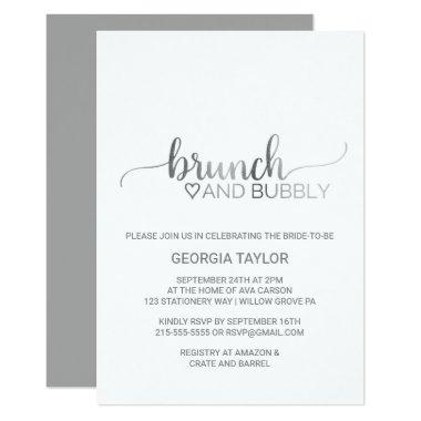 Simple Silver Foil Calligraphy Brunch and Bubbly
