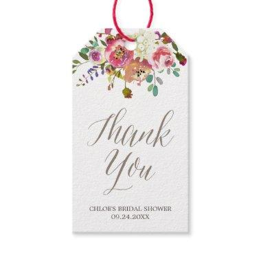 Simple Watercolor Bouquet  Thank You Gift Tags