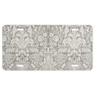 Simple White Floral Damask Pattern Minimal License Plate