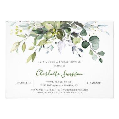 Simply Elegant Eucalyptus Bridal Shower Invitations