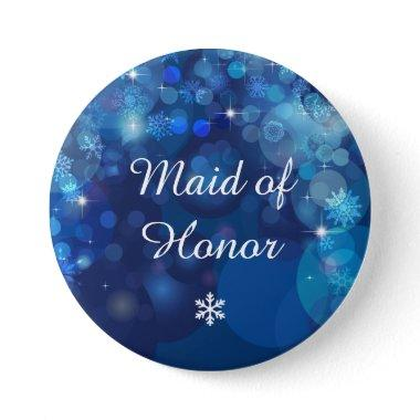 Snowflake Blue Bokeh Winter Bridal Party Button