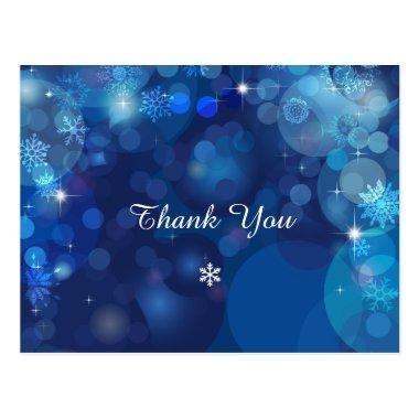 Snowflake Blue Bokeh Winter Thank You PostInvitations