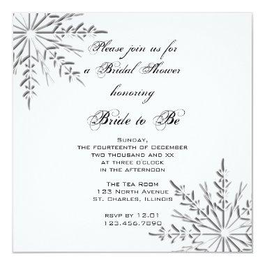 Snowflakes Winter Bridal Shower Invitations