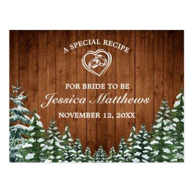 Snowy Wood & Forest Pine Bridal Shower Recipe Invitations