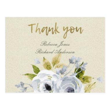 SOFT AQUA BLUE WATERCOLOUR FLORAL THANK YOU POST