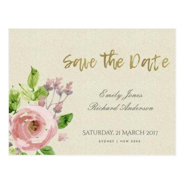 SOFT BLUSH PINK WATERCOLOUR FLORAL SAVE THE DATE POST