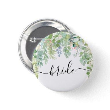 Soft Greenery Bridal Party Button - Bride