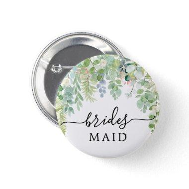 Soft Greenery Bridal Party Button Bridesmaid