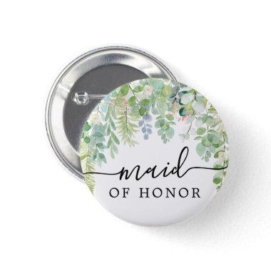 Soft Greenery Bridal Party Button - Maid