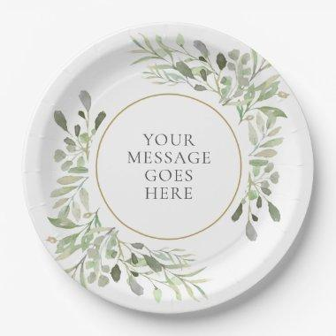 Soft Greenery Leaves Celebration Paper Plate