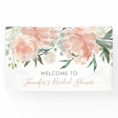 Soft Peach Floral Bridal Shower Banner