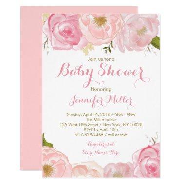 Soft Pink Floral Baby Shower
