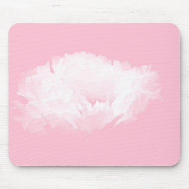 Soft Pink White Peony Floral Mousepad