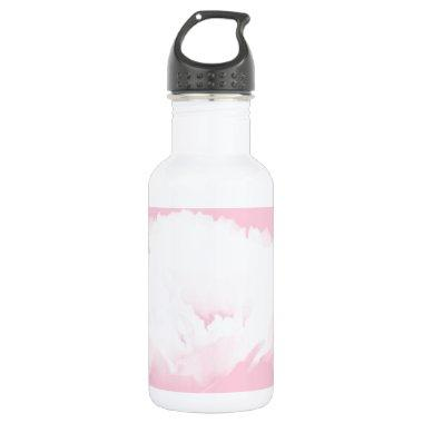 Soft Pink White Peony - Floral Stainless Steel Water Bottle