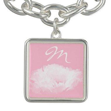 Soft Pink White Peony Monogram Girly Bracelet