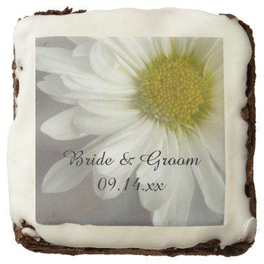 Soft White Daisy on Gray Wedding Favor Chocolate Brownie