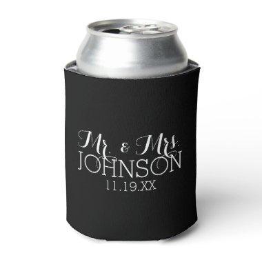 Solid Color Black Mr & Mrs Wedding Favors Can Cooler