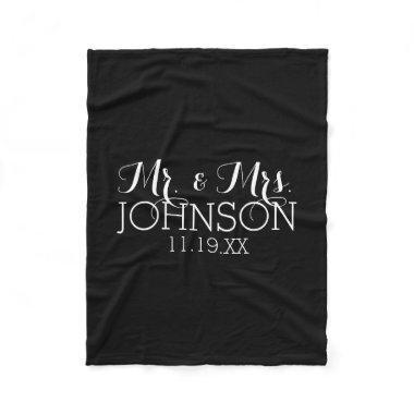 Solid Color Black Mr & Mrs Wedding Favors Fleece Blanket