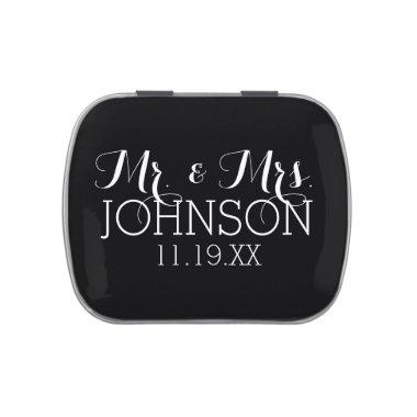 Solid Color Black Mr & Mrs Wedding Favors Jelly Belly Tin