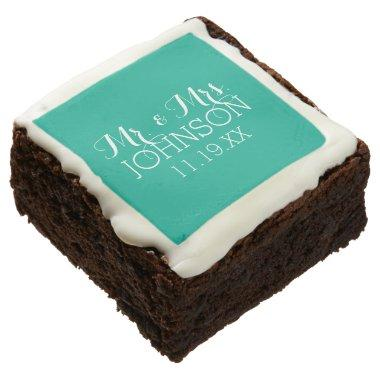 Solid Color Emerald Green Mr & Mrs Wedding Favors Chocolate Brownie