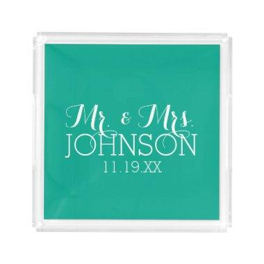 Solid Color Emerald Green Mr & Mrs Wedding Favors Serving Tray