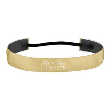 Solid Color Gold - Mr & Mrs Wedding Favors Athletic Headband